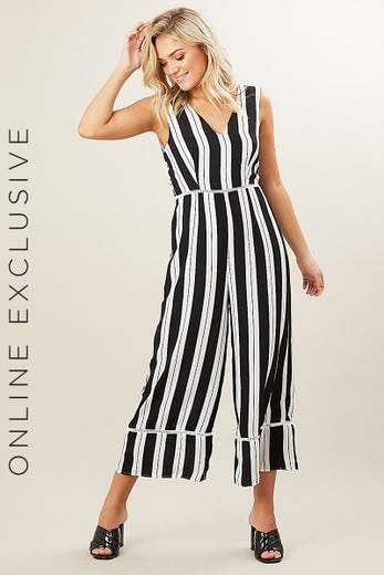 V NECK STRIPE JUMPSUIT