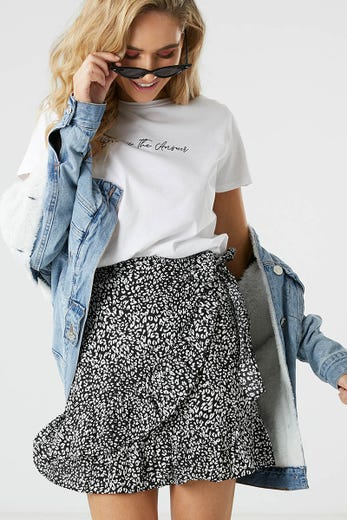 ANIMAL PRINT WRAP SKIRT