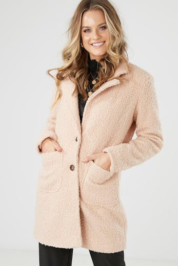 BOUCLE TWO BUTTON COAT