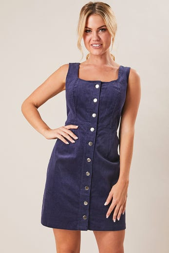 CORD BUTTON FRONT PINAFORE