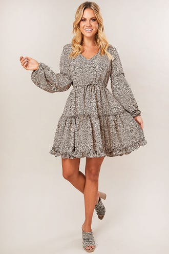 RUFFLE HEM SKATER DRESS