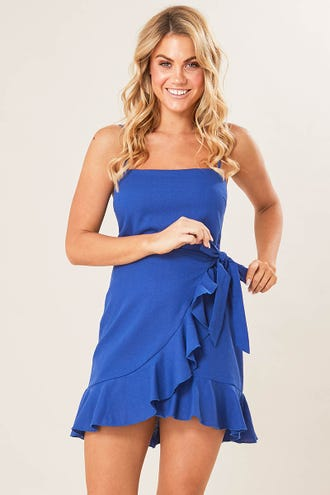 SQUARE NECK RUFFLE DRESS
