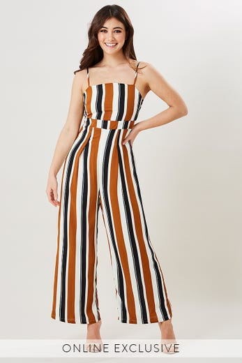 STRIPE SQUARE NECK JUMPSUIT