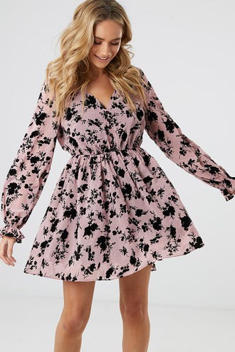 FLORAL FLOCKING BUTTON FRONT DRESS