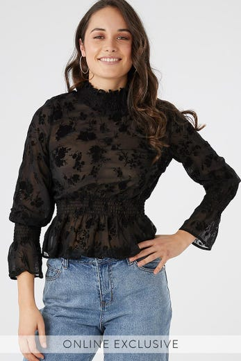 FLORAL FLOCKING TOP