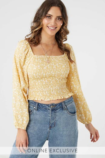 27347ad7c2d193 FLORAL SMOCKING TOP