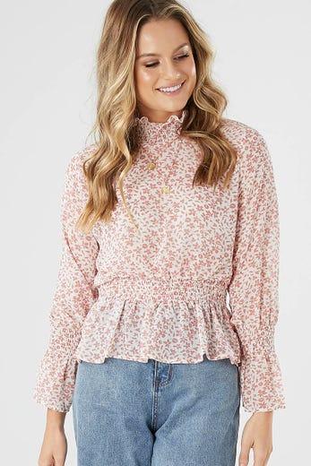 623801693661 HIGH NECK SMOCKING TOP