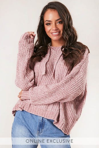 CHENILLE HOODIE KNIT