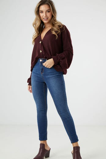 MID RISE 5 POCKET JEANS