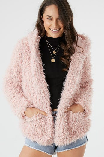 HOODED FLUFFY JACKET