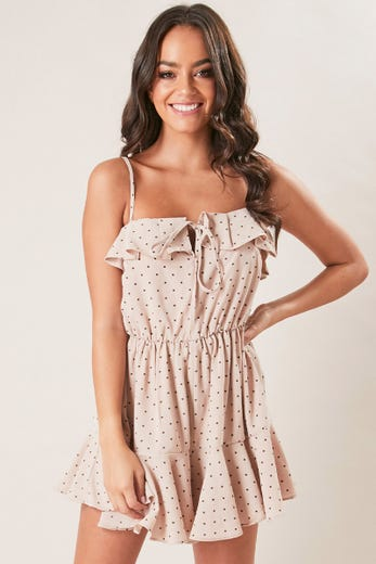 POLKA DOT RUFFLE HEM PLAYSUIT