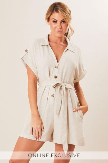 BREATHIN BUTTON FRONT PLAYSUIT