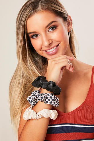 GEO PRINT SCRUNCHIE 3 PACK