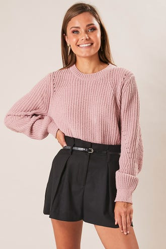 BELTED FAUX WOOL SHORT