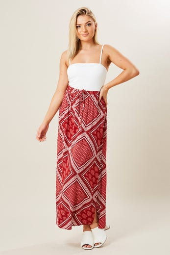 BANDANA PATCHWORK PRINT SIDE SPLIT MAXI SKIRT