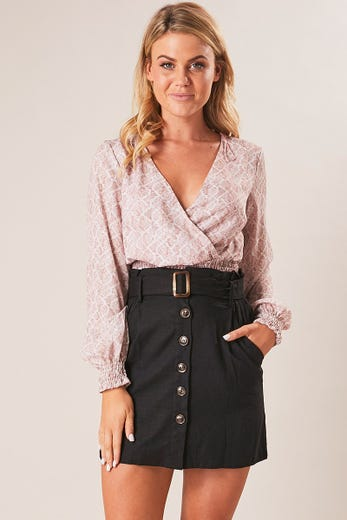 BUTTON FRONT PAPERBAG SKIRT