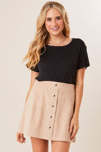 BUTTON FRONT CORDUROY A-LINE SKIRT